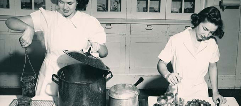 Two Women Cooking in the Old Days
